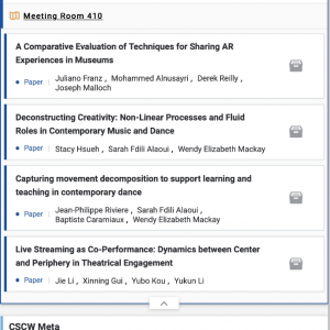 CSCW 2019 Program listing on an iPhone