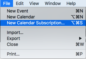 Open Icalendar and click on new calendar subscription