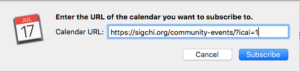 Paste the url of the SIGCHI community calendar