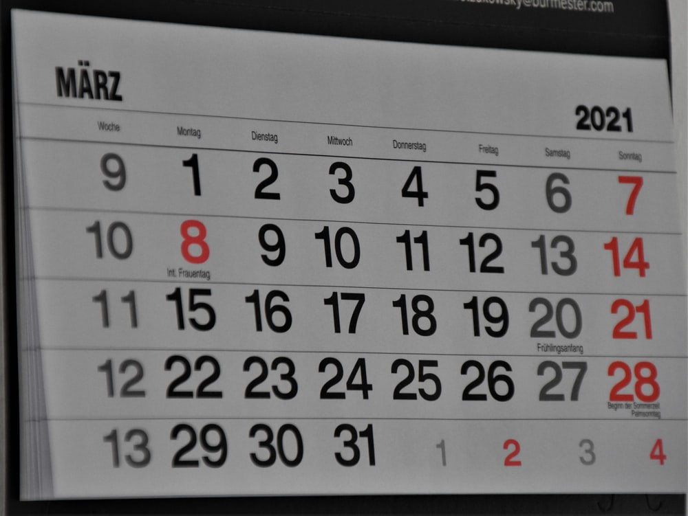A photo of a calendar that shows the month of March 2021.